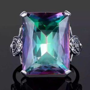 *Huge Magical Mystic Topaz Sterling Silver Ring